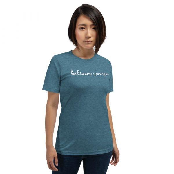 Believe Women Tee Shirt Teal Sexual Assault Awareness Tee Shirt